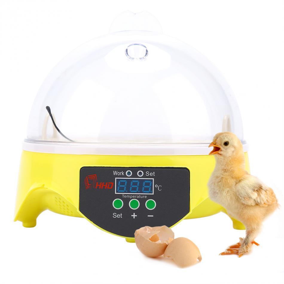 Mini Egg Incubator 7 Eggs Capacity Incubator Brood Machine Chicken Duck Egg Hatcher Electronic Automatic Incubator Brooder Tools