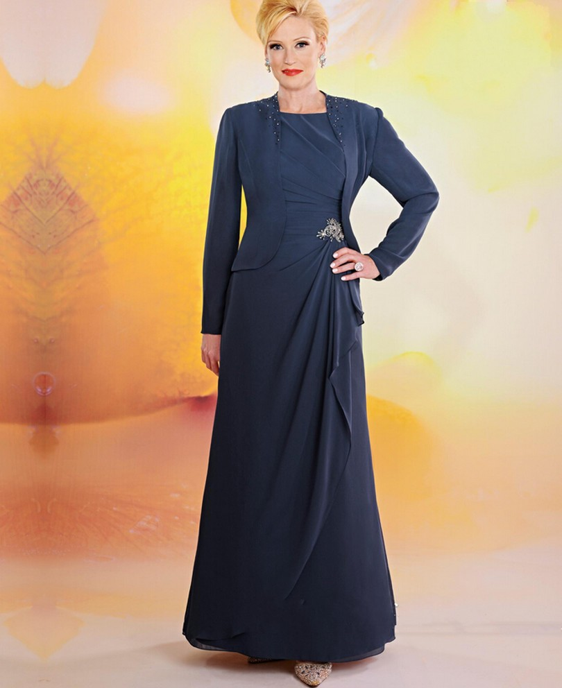 d1e39113467 Elegant Navy Blue Mother of The Bride Dresses With Jacket Women ...
