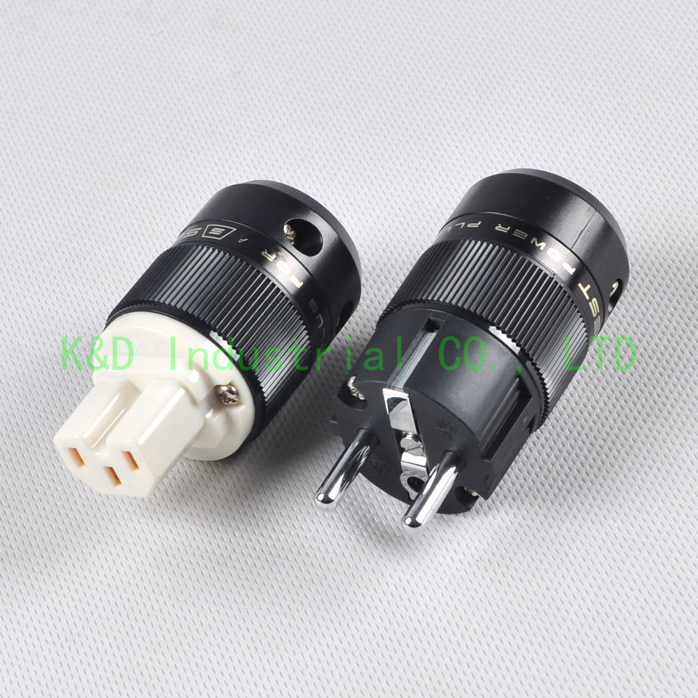 1pair SN01 Audio Schuko Power Plug Male Plug IEC Connector Copper HIFI Black Socket in Smart Power Socket Plug from Consumer Electronics