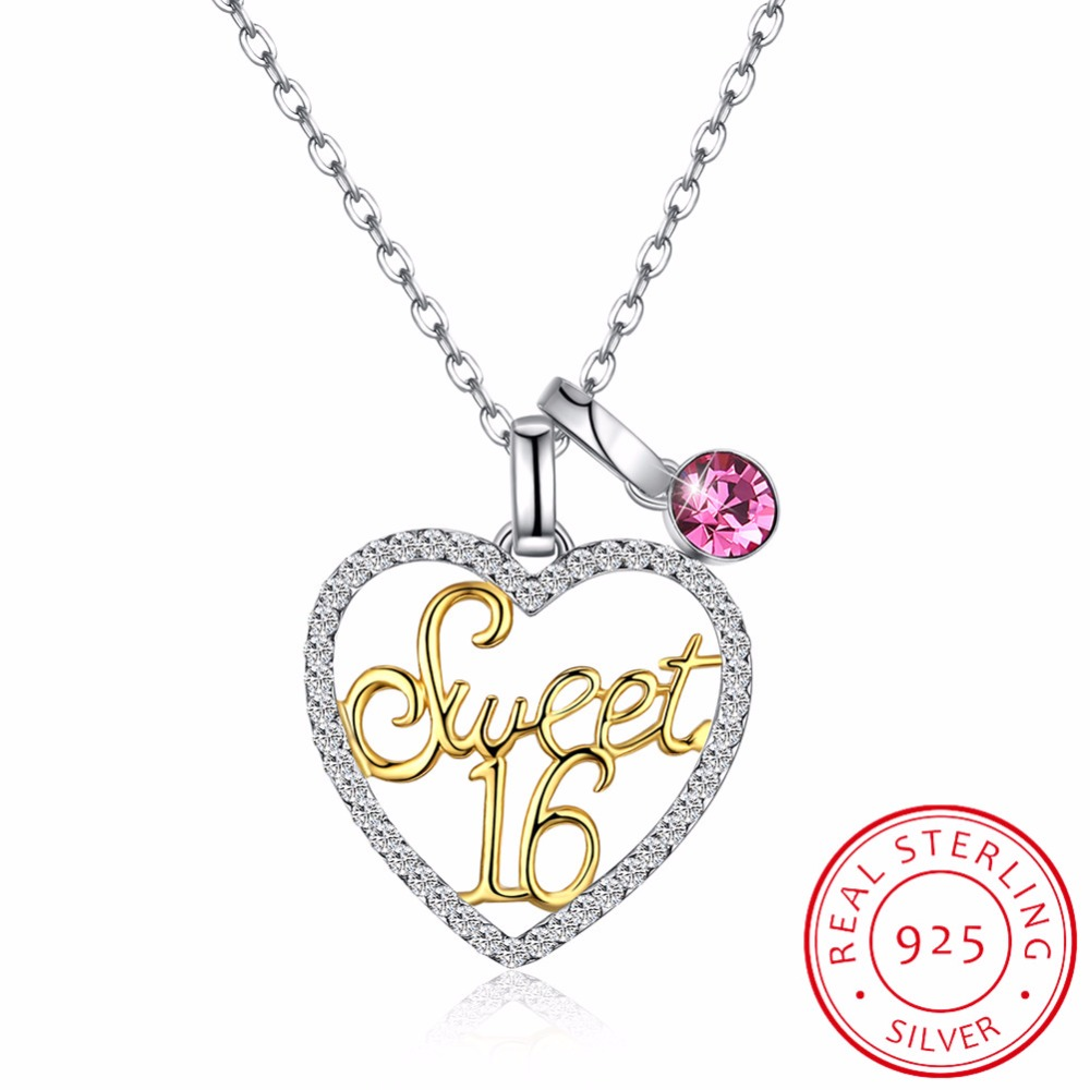 Fashion Sweet 16 Gold Letter Heart Pendant Necklaces 925 Sterling Silver Pink Austria Crystal Love Women Chain Necklace Gifts equte psiw304c1 925 sterling silver austria crystal white heart pendant necklace 18 chain