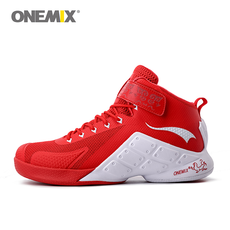 ONEMIX Newest Men Basketball Shoes Breathable Sandwich Mesh Male Ankle Boots Anti-slip outdoor Sport Sneakers plus Size EU 39-46 peak sport men outdoor bas basketball shoes medium cut breathable comfortable revolve tech sneakers athletic training boots