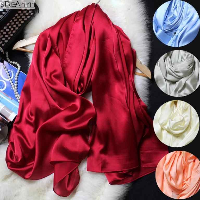 2018New весна осень женские люксовые шарфы сплошной цвет шелковый шарф плюс размер 180 см * 90 см шелковый платок хиджаб шарф 15 цветов