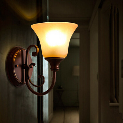 American Vintage LED Wall Lamp Glass Lampshade Modern Bedside Light Wall Sconces Fixtures For Home Indoor Lighting Cafe Bar