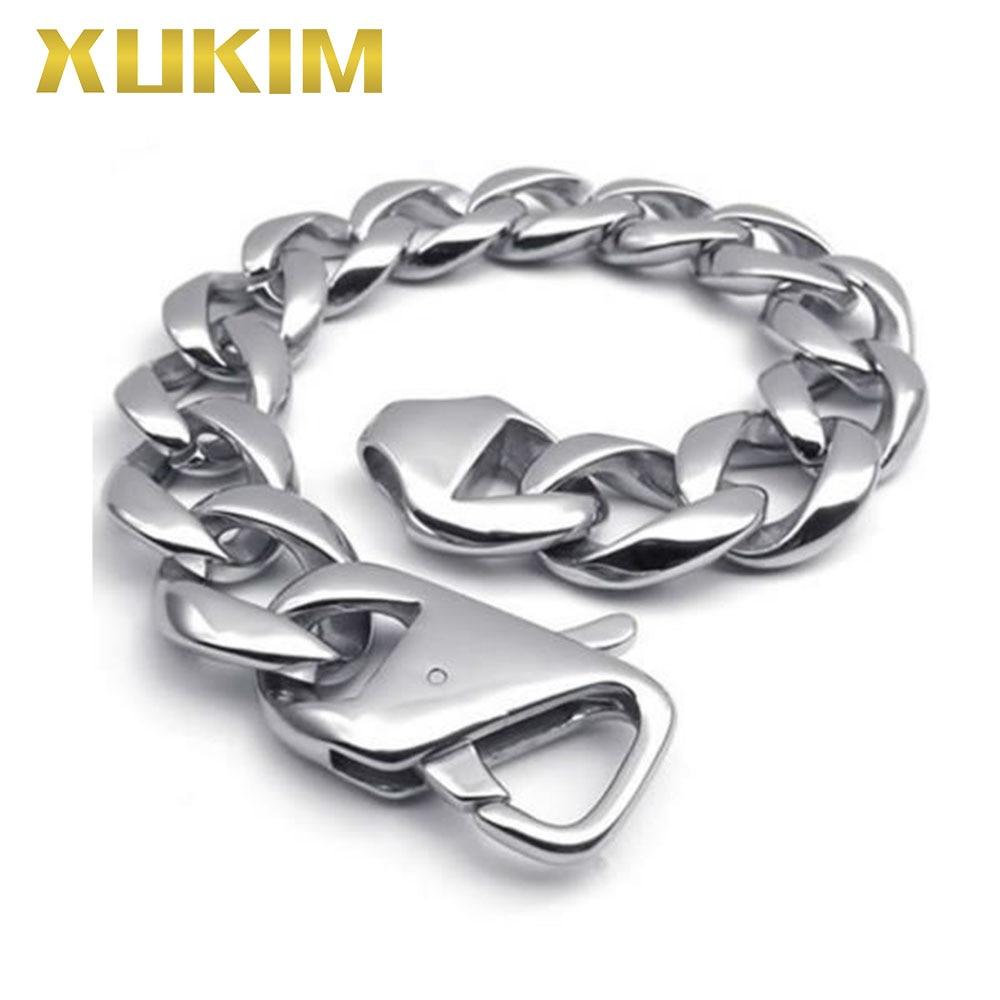 Xukim bijoux haute qualité argent 8 pouces 9 pouces haut poli 316 acier inoxydable hommes Bracelet bijoux de mode