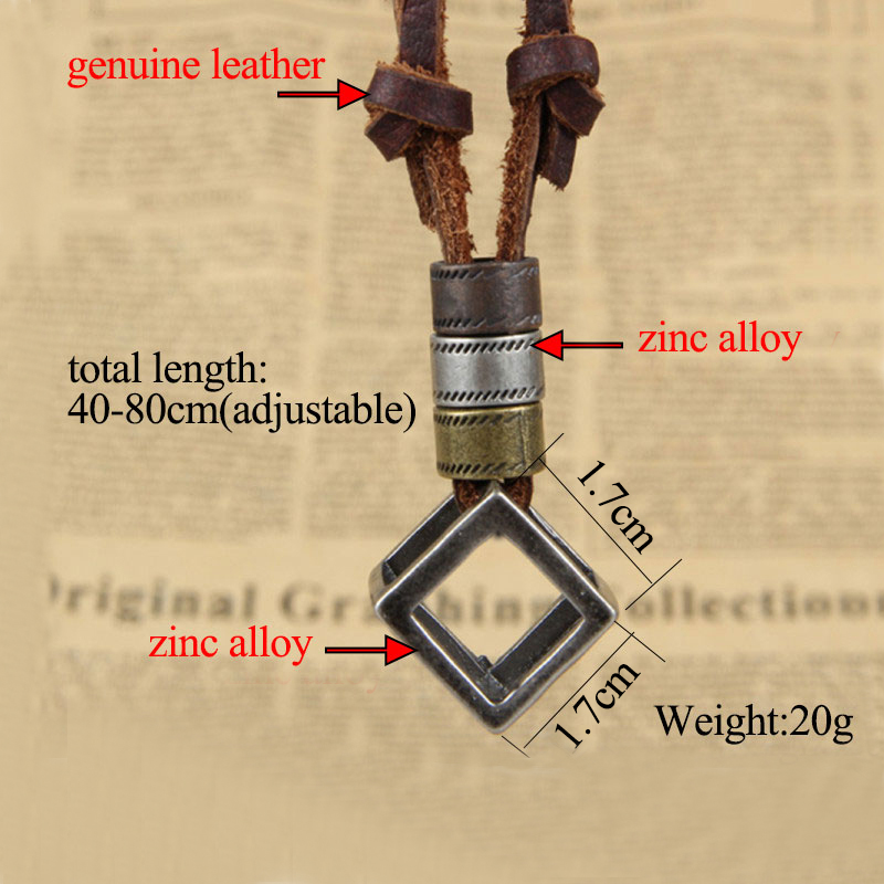 NIUYITID 100% Genuine Leather Men Necklaces Pendants Punk Vintage Adjustable Brown Rope Chain Male Jewelry Mens Jewellery Multan