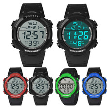 Mens Watch Black Luxury Sport Waterproof  Wrist  Rubber Sport  Watch Casual strap Luminous  LCD Digital Stopwatch  relogio 0606