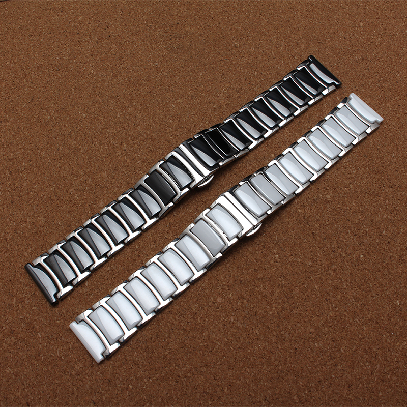New 20mm 20mm Silver stainless steel wrap ceramic watchband white black watch band straps bracelets for