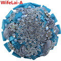 DIY Gorgeous Wedding Flowers Bridal Bouquets Silver Blue Artificial Flowers Rhinestones Bridesmaid Bouquets Best Quality PL001
