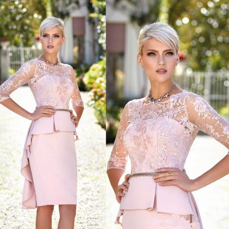 Pink 2019 Mother Of The Bride Dresses Sheath 3/4 Sleeves Appliques Groom Short Wedding Party Dress Mother Dresses For Wedding