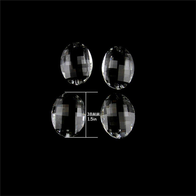 Forme d'oeuf Transparent prisme 38mm 30 pcs/lot pendentifs de rideau en cristal pour la décoration livraison gratuite