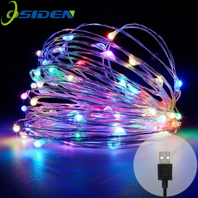 OSIDEN USB10M 33FT 100 led 5 M 50 LEDS Luar Led Tali Lampu Atau Festival Natal Dekorasi Pesta Pernikahan Garland peri