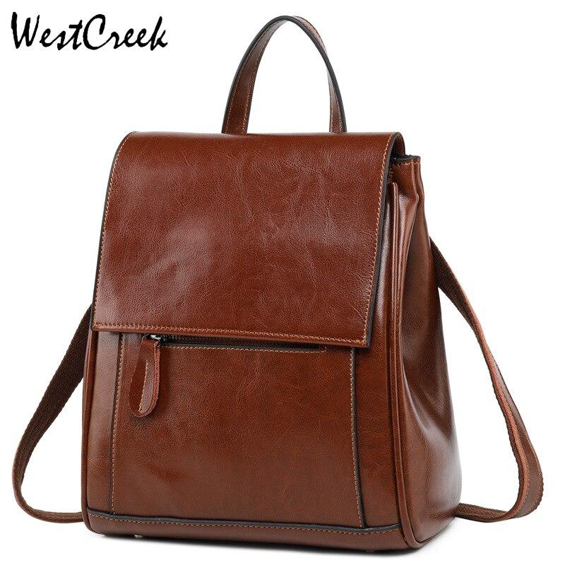 WESTCREEK marque de luxe en cuir véritable femmes Anti-vol sac à dos sac à main dame sac à bandoulière étudiant Bookbag