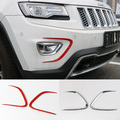 Newest Front Fog Light Parking Lamp Turn Signal Lights Trim Cover ABS Red Mirror For Jeep Grand Cherokee 2014 Up Free Shipping
