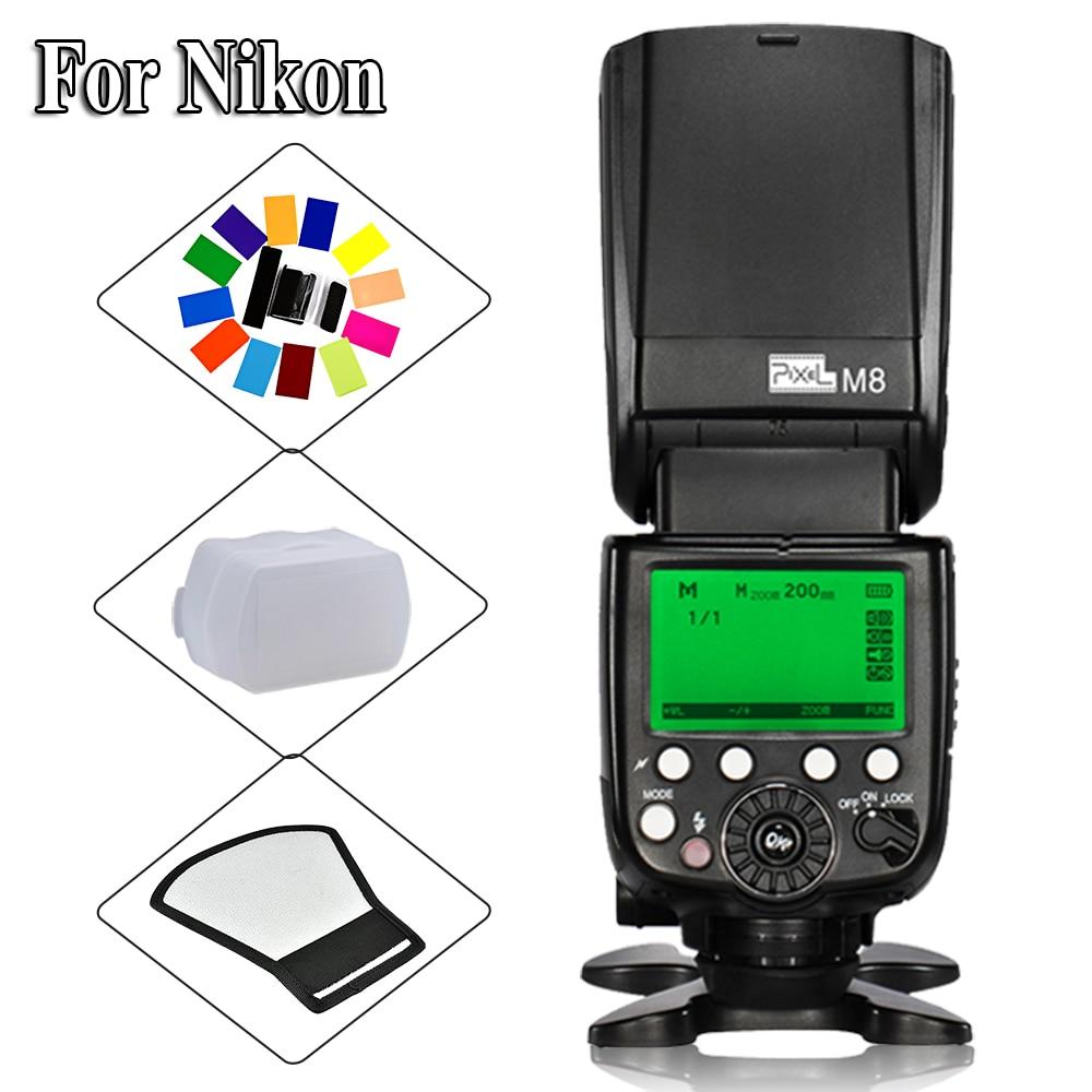 For Nikon D7200 D300s D300 D200 D5100 D3000 DSLR Camera Pixel High Performance M8 LCD M/MUL Wireless Flash Speedlite FlashLight цена
