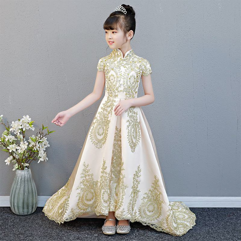 New Kids Girls Elegant Trailing Party Dress Children Stand-collar Princess Wedding Vestidos Teens Girls Lace Sequines Dress Q159
