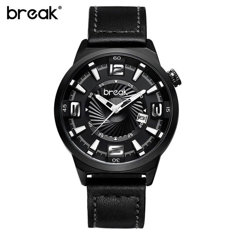 BREAK Creative Unique Design Stainless Steel Strap Mens Watch Top Brand Luxury Casual Sports Quartz Watch Man Gift Wristwatch