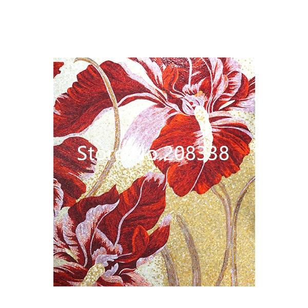 Великолепная Цветочная стеклянная мозаичная плитка художественная настенная роспись - 4