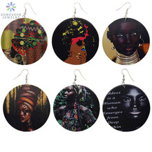 SOMESOOR African Retro Wood Drop Earrings Afro Queen Headwrap Woman Lady With Locs and Hoops Ethnic Ear Jewelry For Blacks Gift