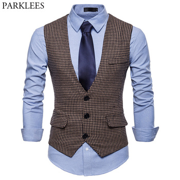 Men's Fashion Houndstooth Suit Vest 2018 Brand New Slim Fit V Neck Single Breasted Sleeveless Waistcoat Mens Party Tuxedo Vests