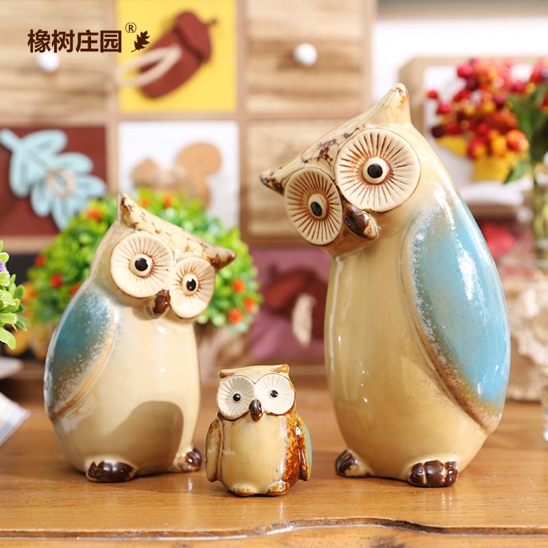 Home Decor Handicrafts: Creative Family Owl Coruja Ceramica Owl Figurines Home