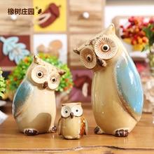 Creative family Owl coruja ceramica owl figurines home decor handicraft crafts room wedding decoration porcelain animal figurine