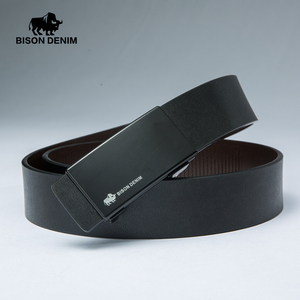 Image 3 - BISON DENIM Mens Belt Automatic Belts Genuine Leather Men Belt 3.2cm Width Cowskin Male Brand Jeans Belts Strap N71349