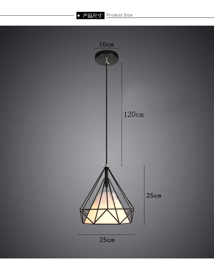 birdcage chandeliers Scandinavian modern minimalist art pyramid iron chandelier creative restaurant lights (14)