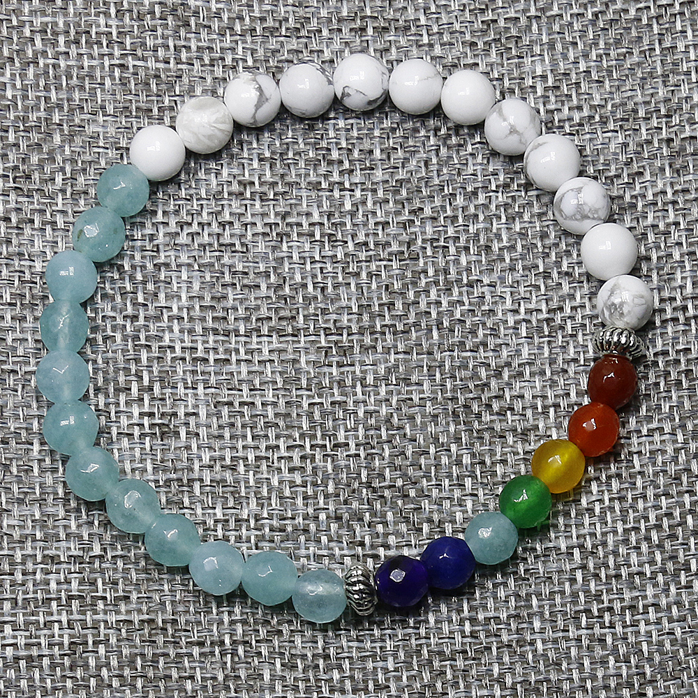 6MM Blue Crystal Stone Beads with Howlite, Rainbow Color Stone Stretch Women & Mens Energy Yoga Gift Bracelets
