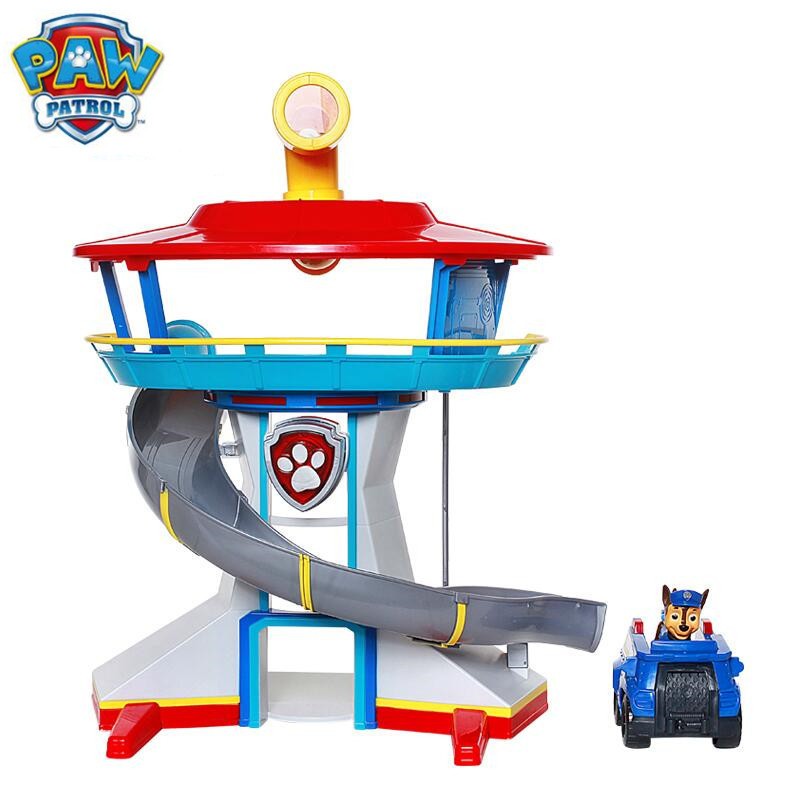 Genuine Paw Patrol Dog Puppy Patrol Car Action Figures Patrulla Canina Sound And Light Car Parking Lot Toy Set Kids Toys Gifts new 8 styles russian cartoon pat canine patrol puppy dog toys car action figures model dolls kids gift pow pet patrulla canina