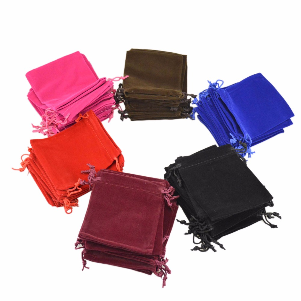 LANWAYLUCKY 5x7CM 100PC/LOT Velvet Drawstring Jewellry Display Gift Bags Mini Ring Pendant Velveteen Jewelry Packaging  Pouches