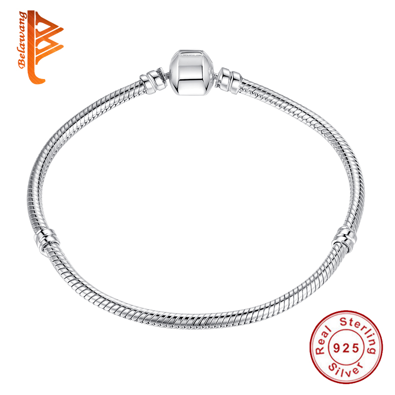 BELAWANG 100% 925 Sterling Silver Basic Chain Bracelet for Women Snake Chain Fit DIY Charm Bracelet Making Fashion Jewelry Gift dorapang 100% 925 sterling silver snake chain necklace fit charm beads for women fashion jewelry diy bracelet factory wholesale