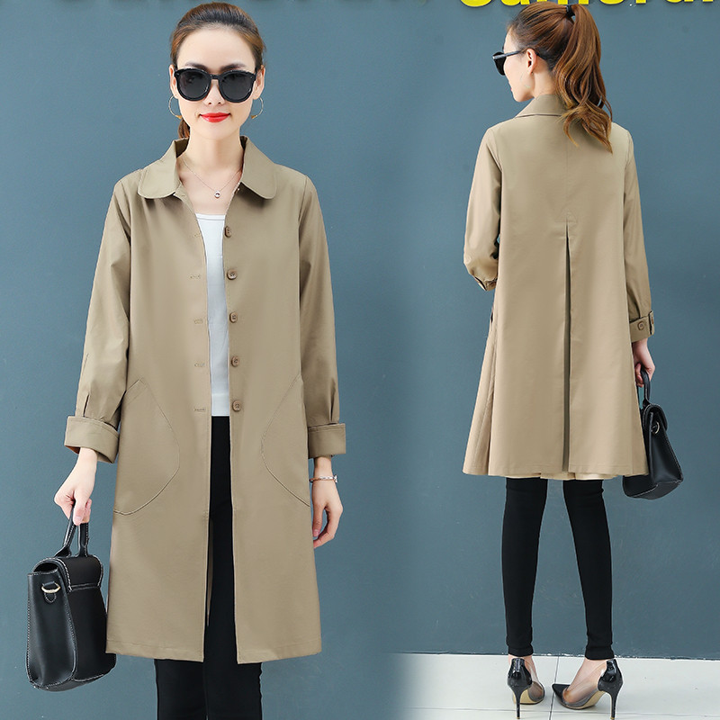 Women   Trench   Coat 2019 Spring Autumn New Fashion Female Loose Thin Long   Trench   Office Lady Windbreaker Business Outerwear Tops