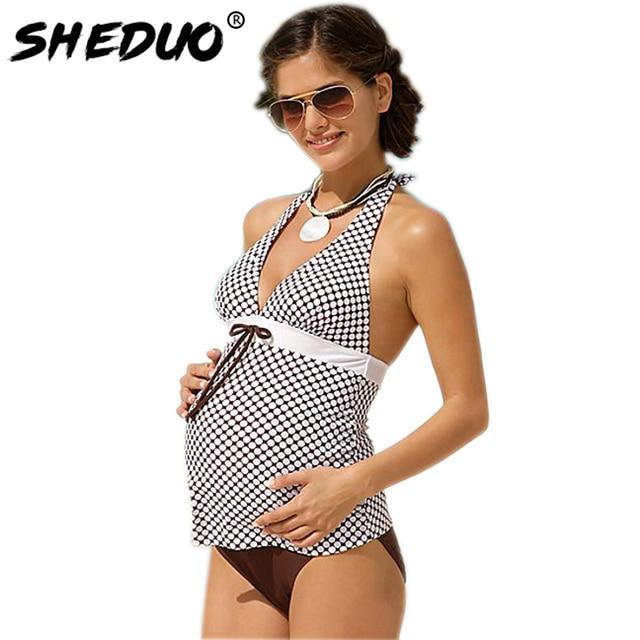 b2ca531c213a9 Maternity Biknis Set Bathing Suit Women Pregnant Swimwear Plus Size Plaid  Vintage Tankini Halter Swimsuit 2018 New Bodysuit