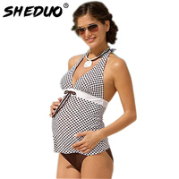 Women Pregnant Swimwear Plus Size Plaid Two Piece Tankini Halter Maternity Swimsuit 2018 New Bodysuit Biknis