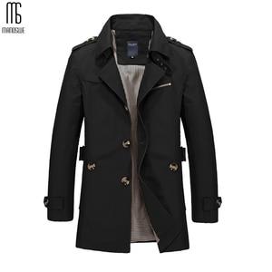 Image 2 - Manoswe 긴 트렌치 코트 남자 2019 새로운 남자 봄 캐주얼 재킷 윈드 브레이커 겉옷 고품질 패션 롱 코트