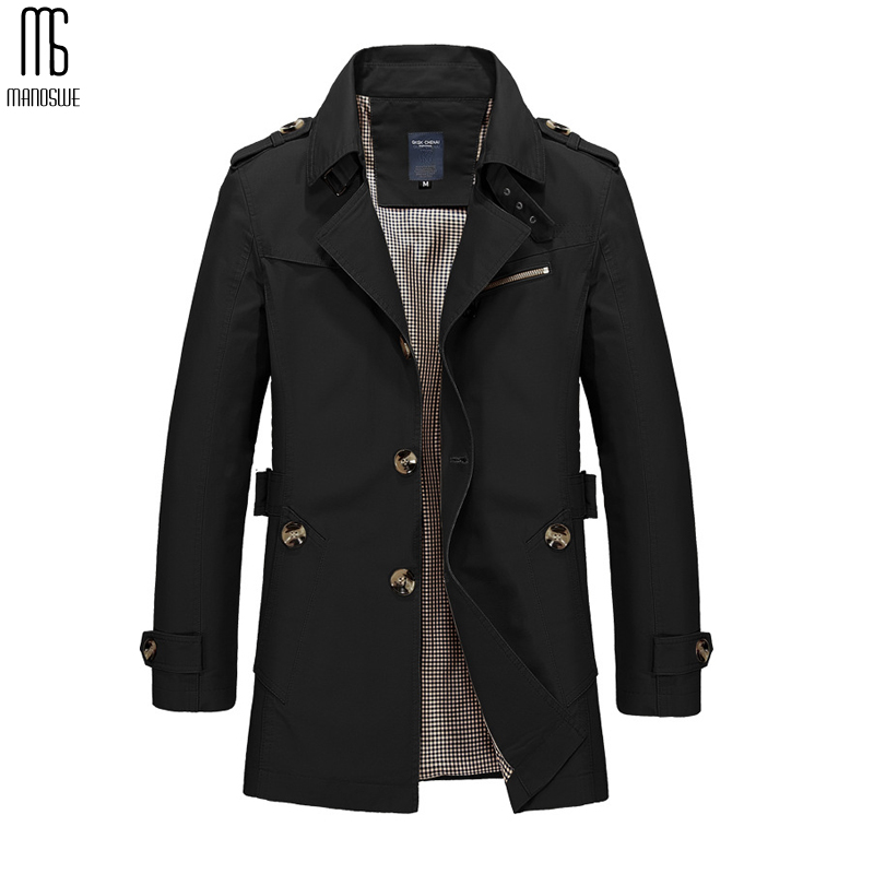 Manoswe Long Leather   Trench   Coat Men 2019 New Men's Spring Casual Jacket Windbreaker Outerwear High Quality Fashion Long Coat