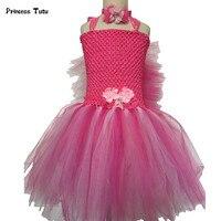 Rose Red, Green, Hoa Cam Tutu Váy Công Chúa Tulle Kids Dresses cho Cô Gái Bữa Tiệc Sinh Nhật Múa Váy Trang Phục Pageant Gowns