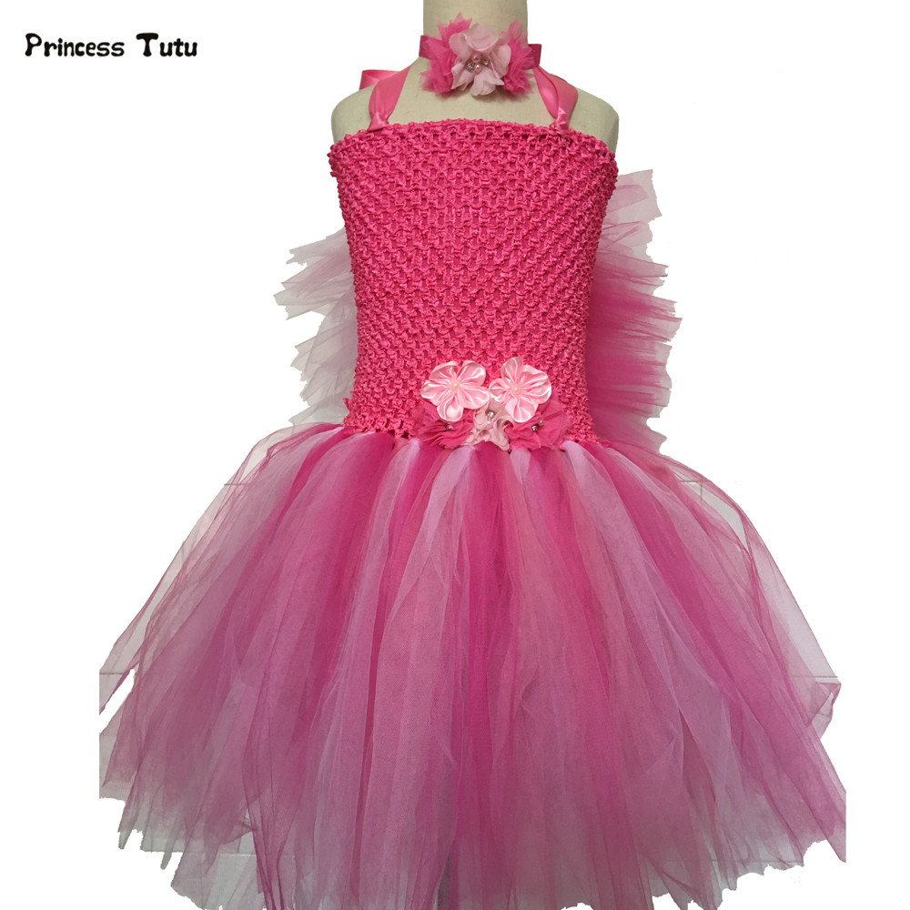 Rose Red,Green,Orange Flower Tutu Dress Princess Tulle Kids Dresses for Girls Birthday Party Dance Dress Costumes Pageant Gowns lovely rainbow tutu dress girls kids flower girl dresses tulle princess dress costumes children party birthday wedding gowns