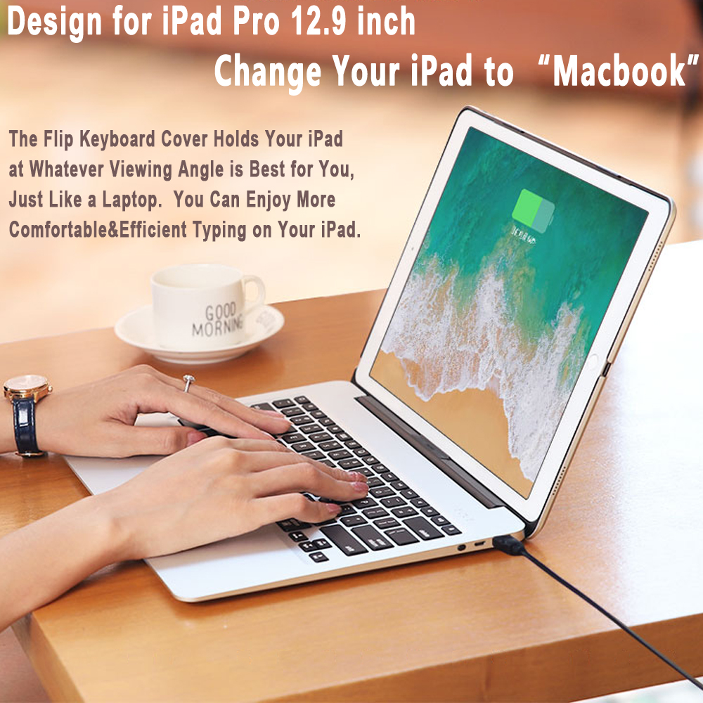 For Apple iPad Pro 12.9  2017 2015 Case Slim Backlit Aluminum Alloy Wireless Bluetooth Keyboard Cover with Powerbank 4400mAhFor Apple iPad Pro 12.9  2017 2015 Case Slim Backlit Aluminum Alloy Wireless Bluetooth Keyboard Cover with Powerbank 4400mAh