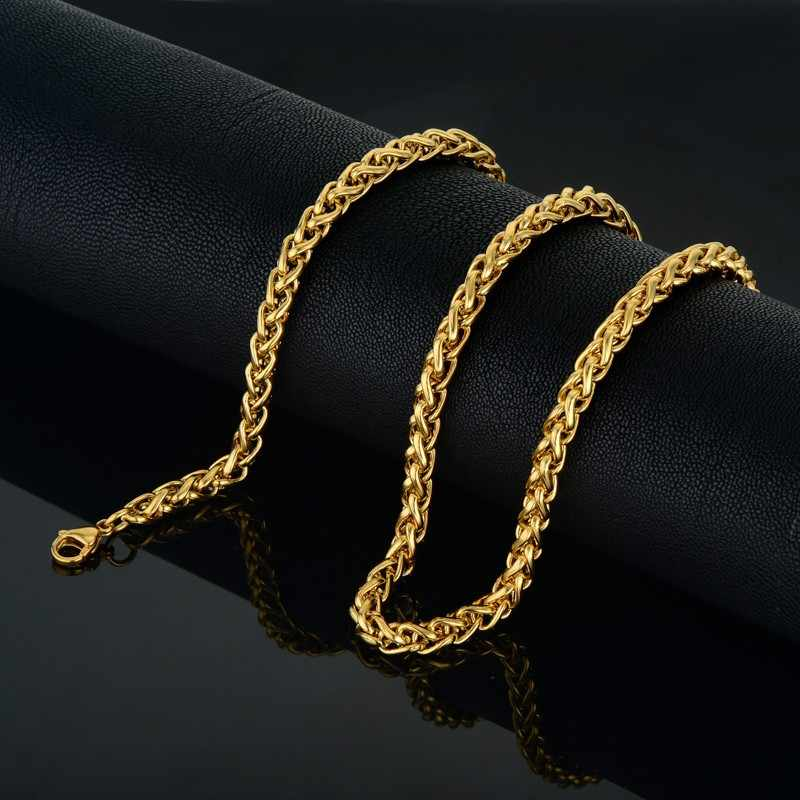 Mens Gold Chain Fashion Jewelry Kpop Vintage Stainless Steel Chain Necklace Men Gold Color Steel Necklace 6mm Rope Necklace
