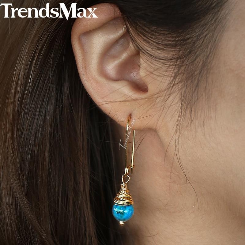 Blue / White Stone Dangle Earrings For Women Gold Filled Alloy Drop Earrings Woman Jewelry 2018 Gifts for Girlfriend Wife KDEM01 gold plated stone asymmetry dangle earrings
