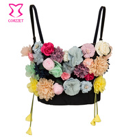 Multi color Floral Applique Sweet Bralette Push Up Bra Bustier Crop Top Brassiere Femme Sexy Bras For Women Dance Party Clubwear