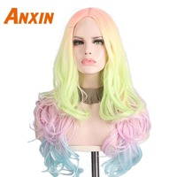Anxin Long Body Wave Wig Rainbow Color For Girls Cosplay Anime Halloween Synthetic Wig