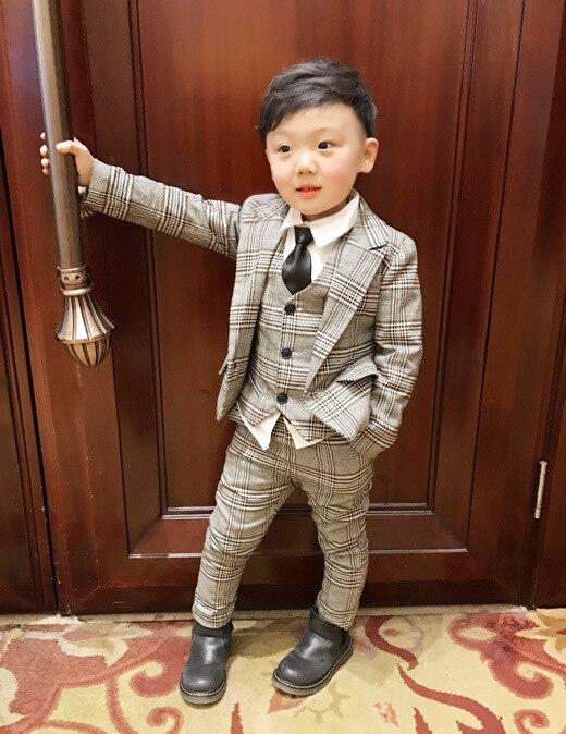 2018 rooster Kids Blazer Baby Jongens Pak Jassen Formele Jas + Broek + vest 3 Stuk Jongen Suits Formele Voor bruiloft Chlidren Kleding