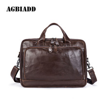 AGBIADD Men's Briefcase Portfolio Leather Laptop Bag Man Bag Men's Bags Men Messenger Casual Shoulder Attache Case 473