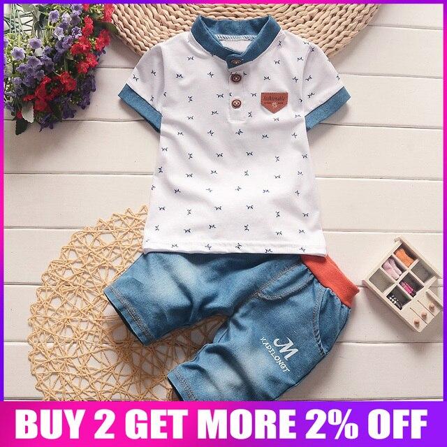 BibiCola bé trai mùa hè quần áo trẻ sơ sinh trẻ em quần áo đặt ra cho cậu bé ngắn tay áo sơ mi + jeans mát quần short denim phù hợp với