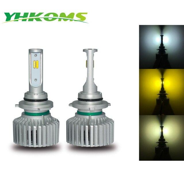 Yhkoms светодио дный H1 H3 9005 HB3 9006 HB4 H8 H9 H11 880 881 H27 светодио дный лампы 6000 К 3000 К 4300 К фар автомобиля 3 цвета белый желтый свет
