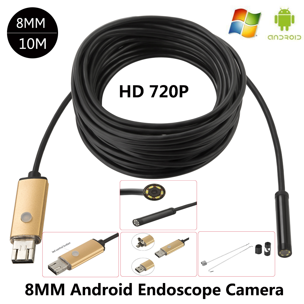 JCWHCAM 8MM Lens Android USB Endoscope 2M/5M/10M 6 LEDs Inspection OTG Borescope Endoscop Waterproof Mini Camera For Android PC 2018 newest 4 9mm lens medical endoscope camera for otg android phone pc usb borescope inspection otoscope camera for ear nose