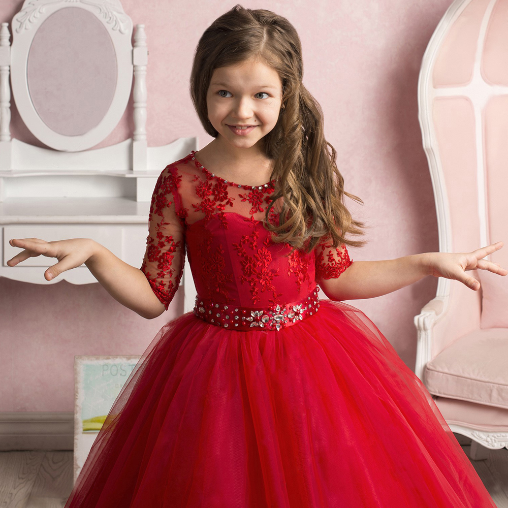 Adorable Red Flower Girl Dresses With Sash Crystals Beaded Collar ...