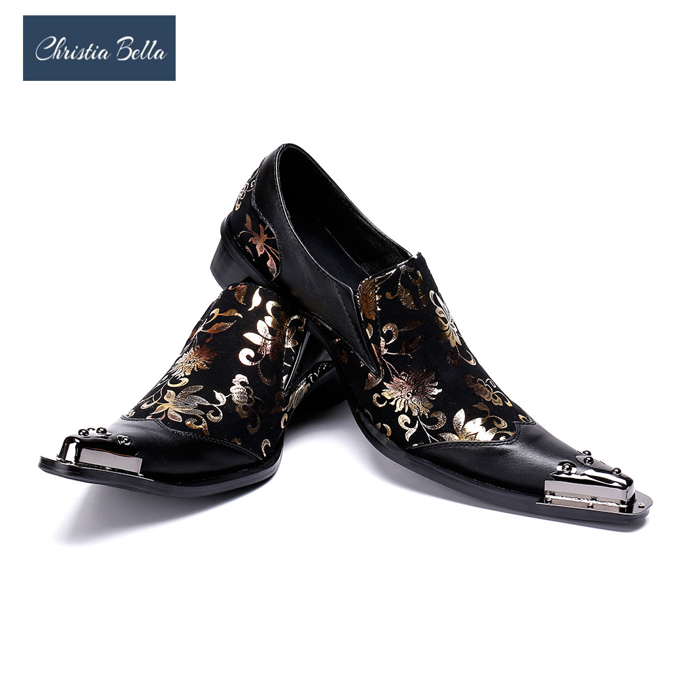 Christia Bella Italy Style Mens Pointed Metal Toe Dress Shoes Black Party Shoes Gold Floral Print Patchwork Men Formal Shoes